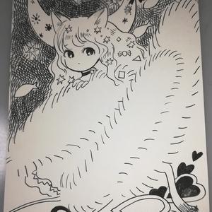 ポストカード原画【ねこ、ねこじゃらし】