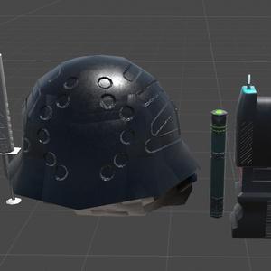 ガスマスク、スタンガン、注射器、ペンライトセット