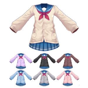 【Vroid用衣装テクスチャ】セーラー服(カーディガン)