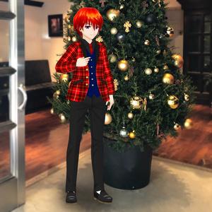 VRoid衣装 赤チェックジャケット