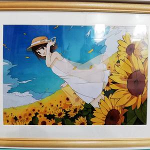 【額入りイラスト】向日葵と少女