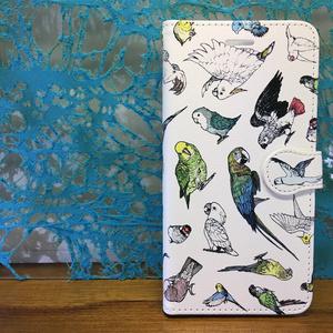 トリ沢山柄 iphone7(8)手帳型スマホケース