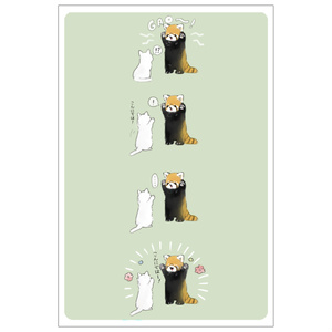 ねことレッサーパンダのポストカード