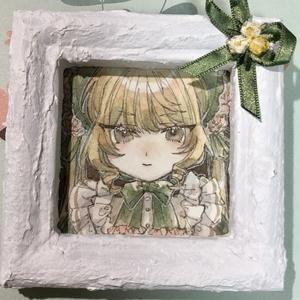 ミニ原画 花とご令嬢 緑