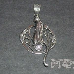 シルバー925「猫」ペンダントトップ