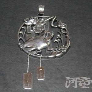 シルバー925「蓮蛙」ペンダントトップ
