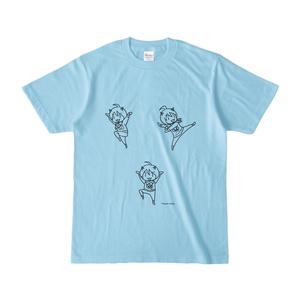 まめ公Tシャツ no.4 ライトブルー