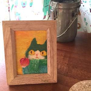 小さな原画 りんごとハチワレ
