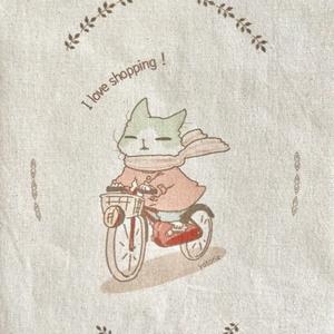 自転車に乗るハチワレ エコバッグ