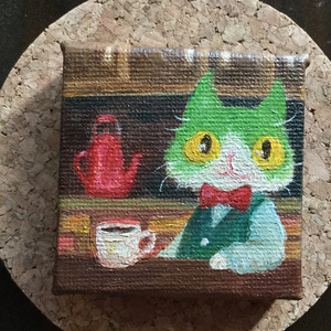 原画 油彩 「喫茶店」
