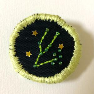 12星座の刺繍ブローチ(おうし座)