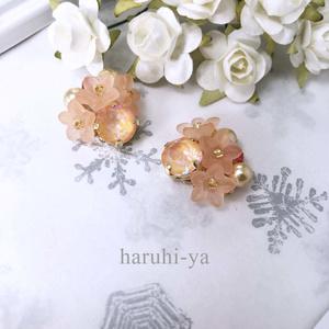 Flower bloom・夕陽に咲く巴旦杏・ピアス