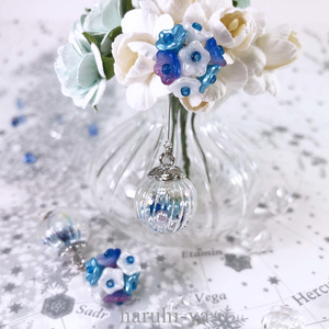 Flower bloom・花手毬~薄浅葱~・2wayピアス