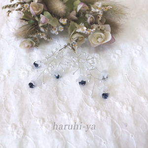 Drop Song・青色しずくと白花の詩・ピアス