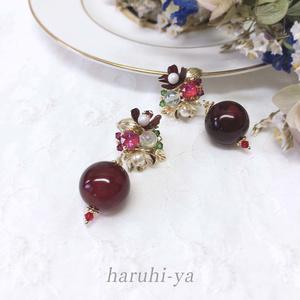 Jewel-Flower・赤瑪瑙と扶桑花・ピアス