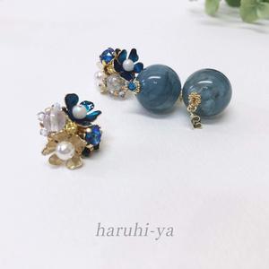 Jewel-Flower・青瑪瑙と千鳥草・ピアス