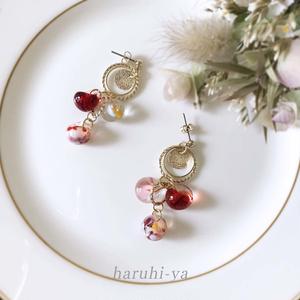 【受注製作】Drop Song・夕焼けに秋桜、そして通り雨・ピアス