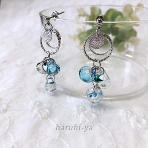 【受注製作】Drop Song・Blue water and Shower of the flower・ピアス