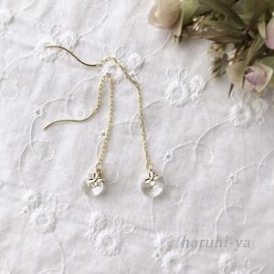 【受注製作】Petite-lab・Small flower and moon rain ・ピアス&ネックレス