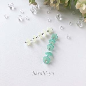 【限定】Petite-lab・Milky-flower&Raindrop・五連ピアス