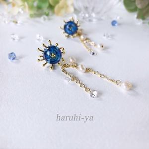 【限定】Forest of the fantasy・青の花手毬~夜の海に咲く花~2wayピアス