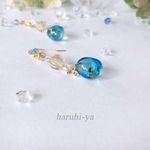 【限定】Forest of the fantasy・青海の玻璃~宝石を抱く水玉~耳飾り・空色