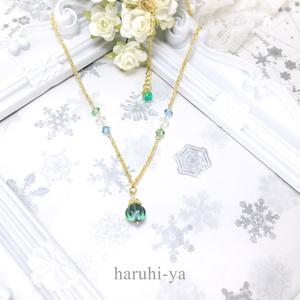 シンデレラ・緑青色のシャンデリア・ネックレス