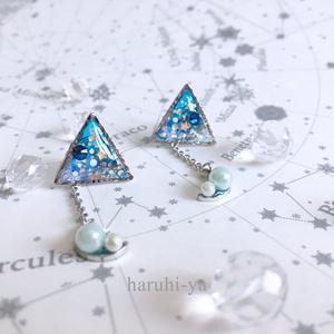 starry night・トライアングルムーン・青の月のピアス