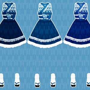 【VRoid用】矢絣ワンピース-3色セット・下駄付き-