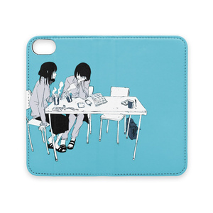 手帳型iPhoneケース(ベルトなし)「休み時間」