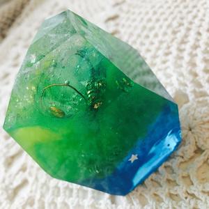 ロックオルゴナイト《水晶》イエロー×グリーン×ブルー