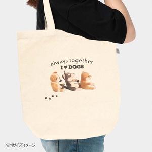 柴犬&ハスキー&ブルドッグの キャンバストートバッグ I Love Dogs 3サイズ