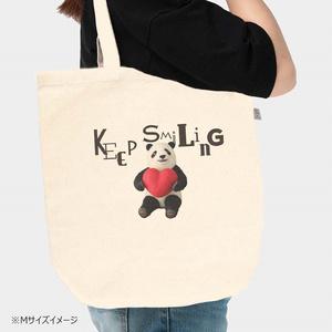 ハートを抱えたパンダのキャンバストートバッグ Keep Smiling 3サイズ