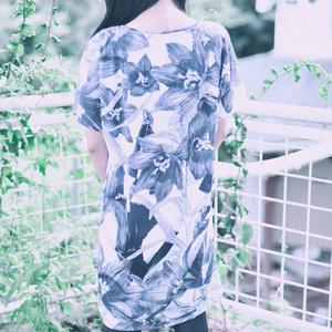 黒百合Tシャツワンピース 黒