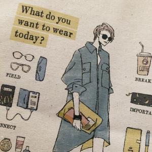 """トートバッグ""""今日は何着てどこへ行く?"""""""
