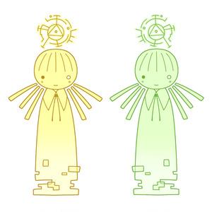 人工知能の人アクリルキーホルダー 黄/緑