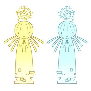 人工知能の人アクリルキーホルダー 黄/水色