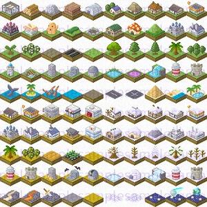 【ドット絵】建築ヴィネット素材(32×32サイズ)