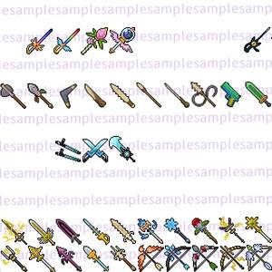 【ドット絵】武器素材(新規分のみ24×24と32×32)