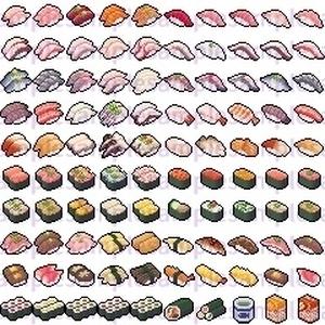 【ドット絵】寿司素材(24×24サイズ)