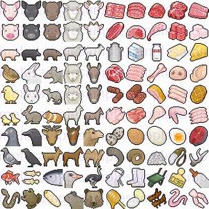【ドット絵】酪農畜産素材(32×32サイズ)