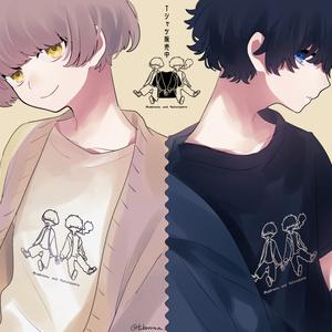 マッシュと天パTシャツ(ブラック)