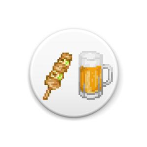 やきとりとビール缶バッジ