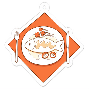 タマの魚料理のアクリルキーホルダー