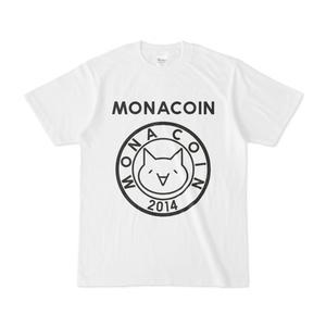 Tシャツ リアルモナコイン表柄 文字有 白地 黒