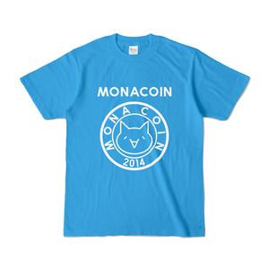 Tシャツ リアルモナコイン表柄 文字有 ターコイズ地 白