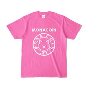 Tシャツ リアルモナコイン表柄 文字有 ピンク地 白