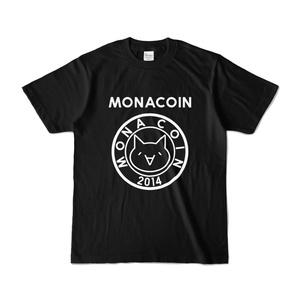 Tシャツ リアルモナコイン表柄 文字有 黒地 白