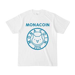 Tシャツ リアルモナコイン表柄 文字有 白地 ターコイズ