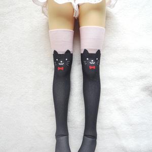 【last1 再販準備中】1/3ドール用 フリーサイズニーソックス オリジナルプリント 黒猫柄ver3